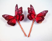 Set of 2 Butterfly Bobby Pins, 3-D Hair Accessories, Copper Hair Clips, FREE Shipping U.S.