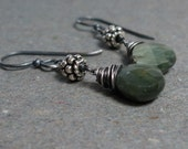 Chrysoberyl Earrings Cat's Eye Earrings Sage Green Earrings Oxidized Sterling Silver Earrings