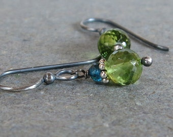 Peridot Earrings Aqua Blue Apatite August Birthstone Oxidized Sterling Silver Gift for Her