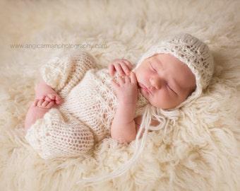 Tiny Petals Newborn Knit Romper and Bonnet, Alpaca Blend, Newborn Photo Props, Made to Order