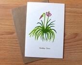 botanical linocut letterpress blank card Nodding Onion