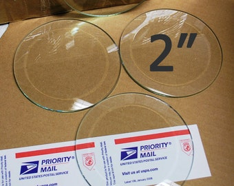10 pack of 2 Inch Clear Glass CIRCLE Bevels FLAT on Back for Pendants - ORNAMENT Size - Solder Art