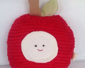 Apple Toy - Eco Kids Toy Stuffed Animal . Plush - Natural - Eco-Friendly  Teachers