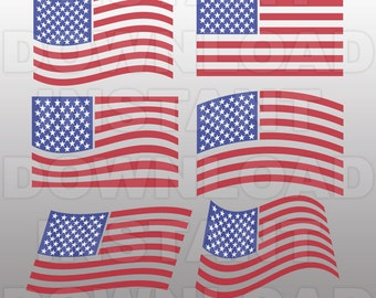 American Flags SVG File Cutting Template-July 4th USA Vector Clip Art Commercial & Personal Use-Instant Download-Cricut,Decal,Vinyl-set 1