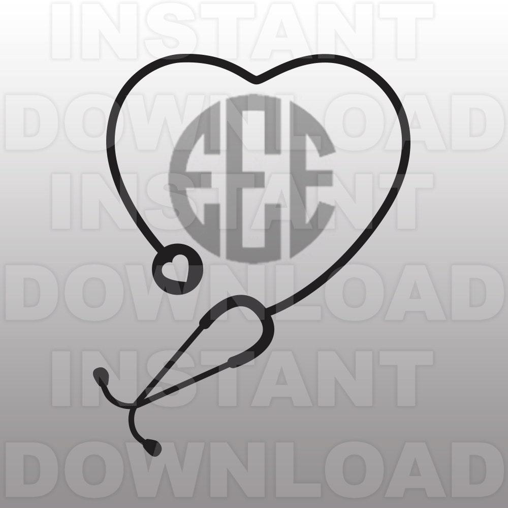 nursing svg file monogram heart stethoscope svg file cutting