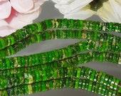 Bastet's Beads- Destash 71/2 Inch Strand Emerald Green Sea Sediment Jasper Wheel Rondells 2x6mm