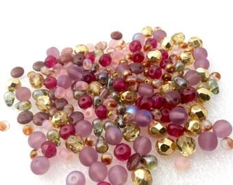 Shapes and colors Czech Glass Bead Mix LoT Fire Polished, round, donuts,  teardrops, Miyuki Magatama PORTLAND ROSES