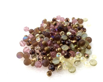 Shapes and colors Czech Glass Bead Mix LoT Fire Polished, round, donuts, teardrops, Miyuki Magatama  CHOCOLATERIE