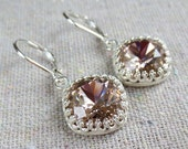 Swarovski Blush Pink Pale Rose Cushion Cut Square Crystal Crown Dangling Silver Earrings Wedding Bridal Jewelry Bridesmaids Gifts