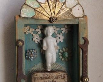 SHADOW BOX   - Assemblage Art - Frozen Charlotte #1279