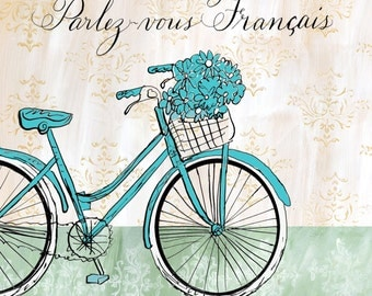 Blue French Bike with Flowers Print