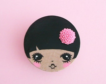 Dollie Doll Face Brooch
