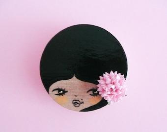 Carmen Doll Face Brooch