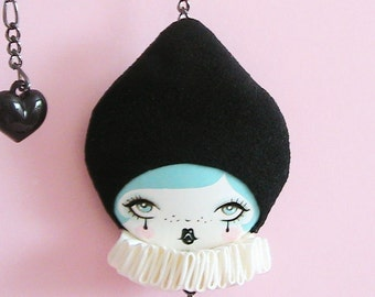 Clown Doll Face Necklace