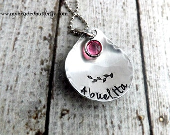 personalized necklace- abuelita necklace-Grandmother necklace-hand stamped jewelry-birthstone necklace - mom necklace - nana gift
