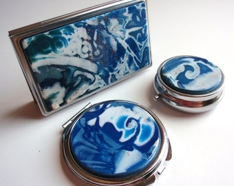 Purse accessories: compact mirror, business card case wallet, pill box; your choice - any or all; blue handcrafted polymer veneer decoration