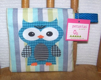 Reusable Little Snack Bag - pouch kids adults eco friendly owl exclusive fabric by PETUNIAS