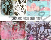 Gelli prints Forest and Moon set of 4 - by Mindy Lacefield