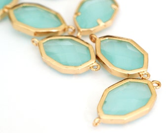 Top Quality 2pcs PaleTurquoise Faceted Glass Polished Real Gold Plated Brass Links GLAA