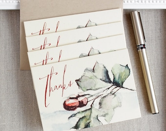 Autumn Foliage Thank You Notes set of five Fall Rustic Acorns