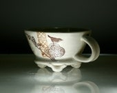 Latte Cup - Small Handled Bowl - Bird Flowers