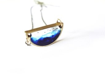 night sky hand painted resin necklace