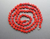 Megan. Hand Knotted Long Red Coral Necklace, Bamboo Coral Beaded Necklace