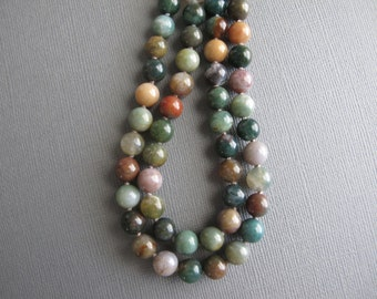 Knotted Multicolor Agate Necklace, Long Beaded Necklace, Boho Jewelry