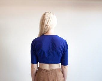 futuro city indian fitted crop top / blue midriff top / petite cropped blouse / s / 861t
