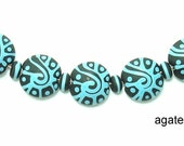Free Shipping) Fun Turquoise & Ivory Scroll  Lentils  Lampwork Beads SRA