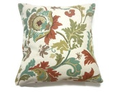 Decorative Pillow Cover Teal Olive Rust Brown Natural Same Fabric Front/Back Modern Funky Floral Toss Throw Accent 18x18 inch x