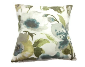 Decorative Pillow Cover Bold Floral Design Teal Green Pale Yellow Cream Off White Same Fabric Front/Back Throw Accent 18x18 inch x