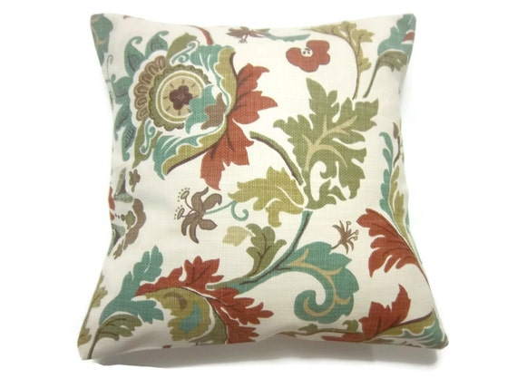 RESERVED Decorative Pillow Cover Teal Olive Rust Brown Natural