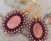 Small Beaded Earrings Seed Bead Dangle Earrings Red Abalone Drops