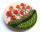 FIELDS OF SUMMER felt brooch pin with freeform embroidery - scandinavian style