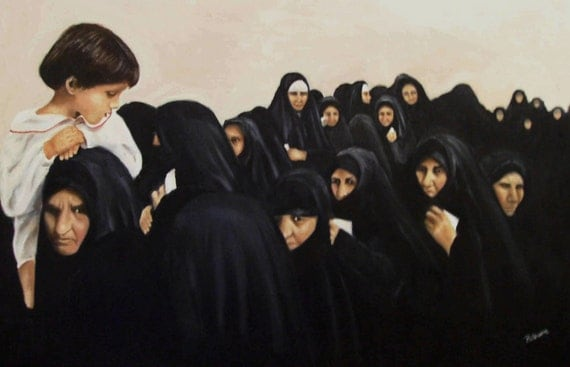 The First Vote In Iraq Womens Issues Political Democratic Muslim Oil on Canvas Painting