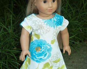 "American Girl clothes 18"" doll jersey knit dress floral dress short sleeve dress white aqua green dress doll dress"