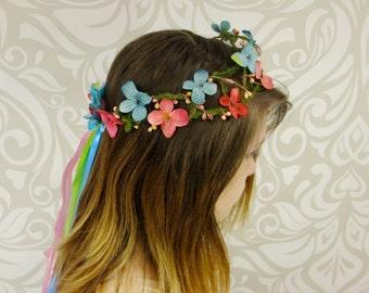 Rainbow Bridal Flower Crown, Boho Flower Crown, Bridal Hair Accessory, Tropical Flower Crown, Summer Wedding, Spring Wedding