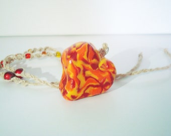 Fimo Flame Like Heart Hemp Pendant Necklace