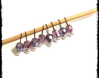 Snag Free Stitch Markers Extra Small Set of 8-- Lavender and Lilac Faceted Czech Glass -- J65-- For up to size US 4 (3.5mm) Knitting Needles