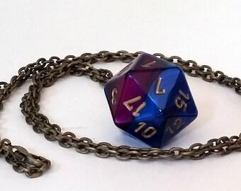 Purple Dice Pendant Necklace - Purple and Blue Swirl D20 Twenty Sided Dice Jewelry - Geeky Gamer Jewelry