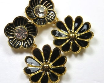 SJKVintage -- Signed Gold, Rhinestone, and Black Enamel Floral Flowers Pierced Earrings (1980's)