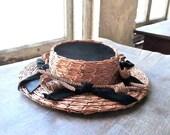 Edwardian Ladies Wicker Skimmer Boater Hat