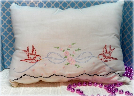 Upcycled Chic Embroidered Bird Pillow, Shabby Chic Pillow, Shabby Bedroom Decor,Handmade Pillow,Shabby Home Decor