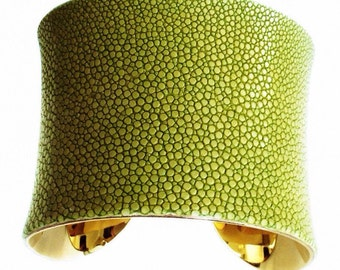 Pea Green Polished Stingray Gold Lined Cuff - by UNEARTHED