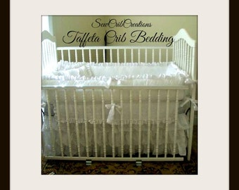 Taffeta White Or Your Choice of Color Crib Bedding Set