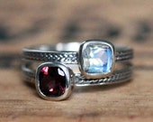 Birthstone stack rings, unique mothers ring, bezel gemstone stacking ring, silver braided ring, luxury jewelry, custom made to order