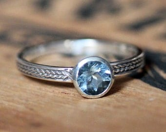 Aquamarine ring silver, aquamarine promise ring, silver engagement ring, March birthstone ring, wheat ring, braided ring, custom made