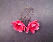 Fabric Flower Earrings, Hot Pink Rose Blossoms, Copper Dangle Earrings, FREE Shipping U.S.