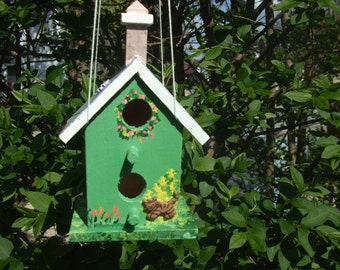 Handpainted Birdhouse - Small - Green - Two Openings